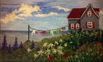 "Celia Charlton, Nova Scotia, ""Bouctouche Summer"", 19 x 32 new and recycled wool flannel, wool yarns hooked on linen #6 cuts original design"